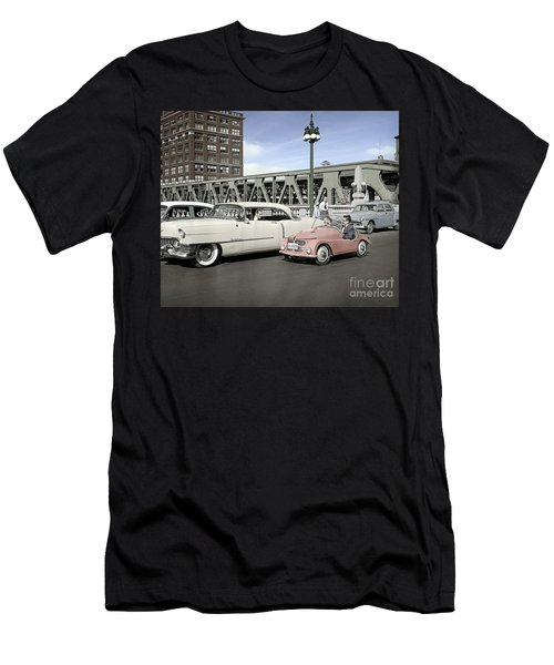 Men's T-Shirt (Slim Fit) featuring the photograph Micro Car And Cadillac by Martin Konopacki Restoration