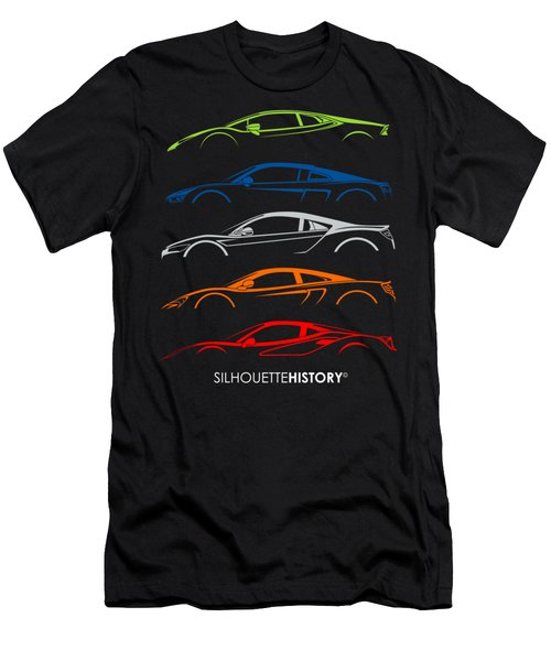 Mid-engine Sports Cars Silhouettehistory Men's T-Shirt (Athletic Fit)