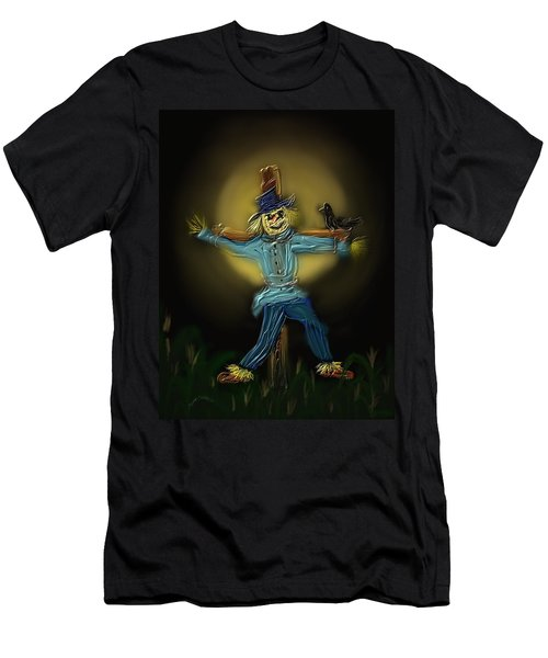 Men's T-Shirt (Slim Fit) featuring the painting Midnight In The Cornfield by Kevin Caudill