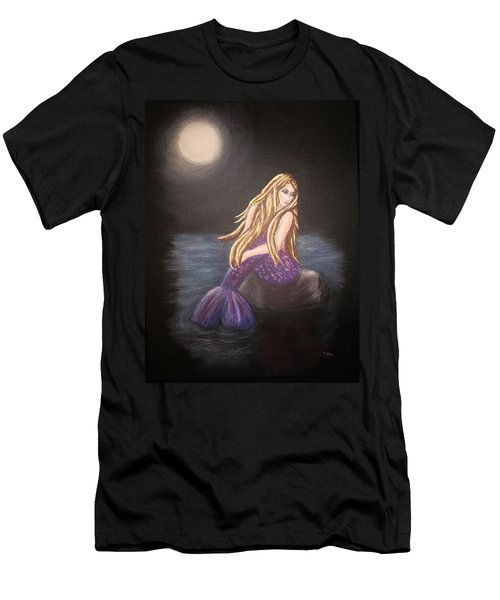 Men's T-Shirt (Slim Fit) featuring the painting Midnight Mermaid by Teresa Wing