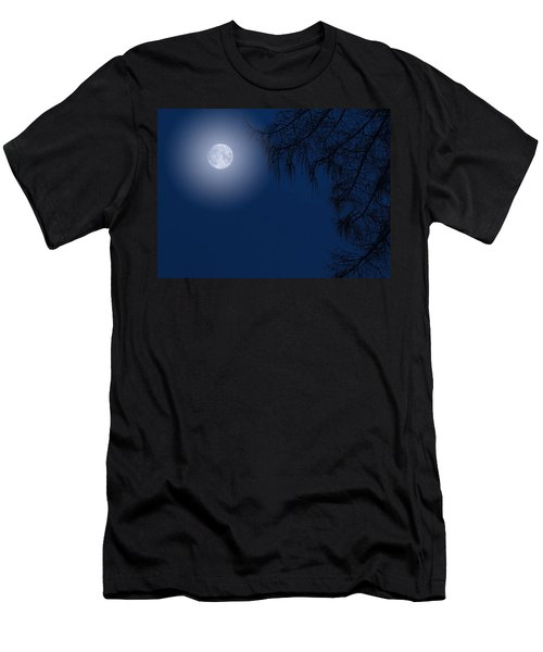 Midnight Moon And Night Tree Silhouette Men's T-Shirt (Athletic Fit)