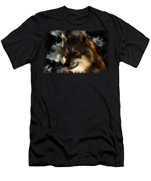 Midnight Stare - Wolf Digital Painting Men's T-Shirt (Athletic Fit)