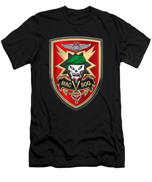 Military Assistance Command, Vietnam Studies And Observations Group Patch Over Black Velvet Men's T-Shirt (Slim Fit) by Serge Averbukh