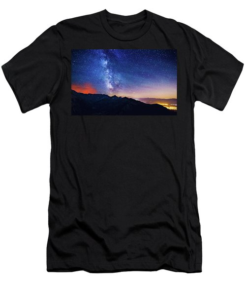 Milky Way Mountains Men's T-Shirt (Athletic Fit)