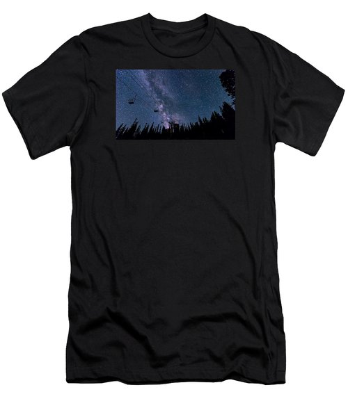 Milky Way Over Chairlift Men's T-Shirt (Slim Fit) by Michael J Bauer