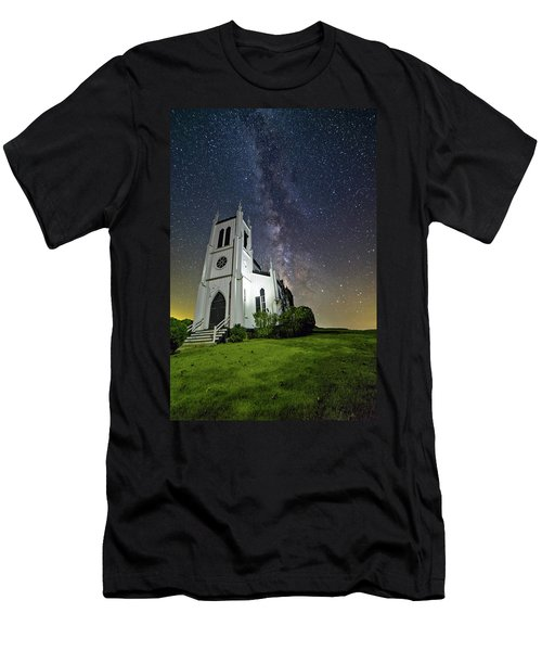 Men's T-Shirt (Athletic Fit) featuring the photograph Milky Way Over Church by Lori Coleman