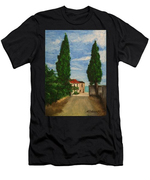 Men's T-Shirt (Slim Fit) featuring the painting Mini Painting, Portugal by Marna Edwards Flavell