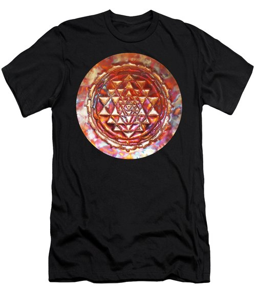 Men's T-Shirt (Athletic Fit) featuring the sculpture Mini Sri Yantra Kupfer Lichtmandala  by Robert Thalmeier