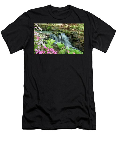 Men's T-Shirt (Slim Fit) featuring the photograph Mini Waterfall by Sandy Keeton