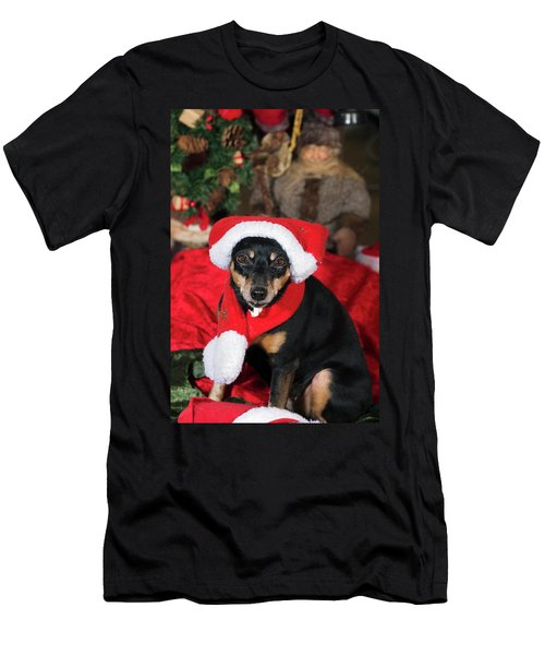 Miniature Pinscher Wishing A Merry Christmas Men's T-Shirt (Athletic Fit)