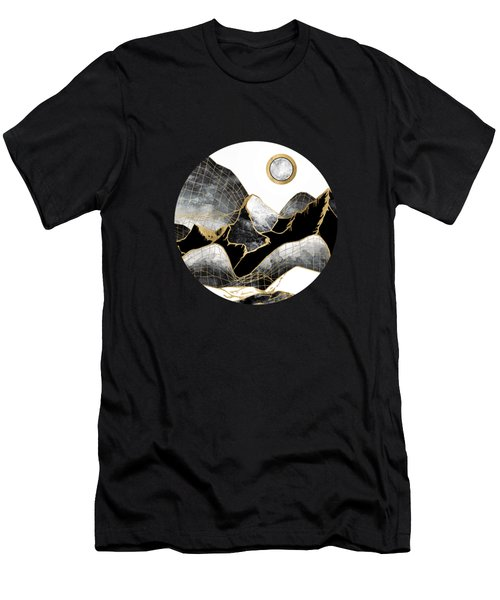 Minimal Black And Gold Mountains Men's T-Shirt (Athletic Fit)