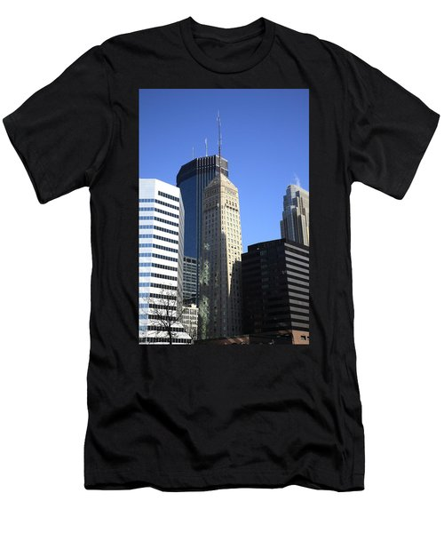 Men's T-Shirt (Slim Fit) featuring the photograph Minneapolis Skyscrapers 12 by Frank Romeo
