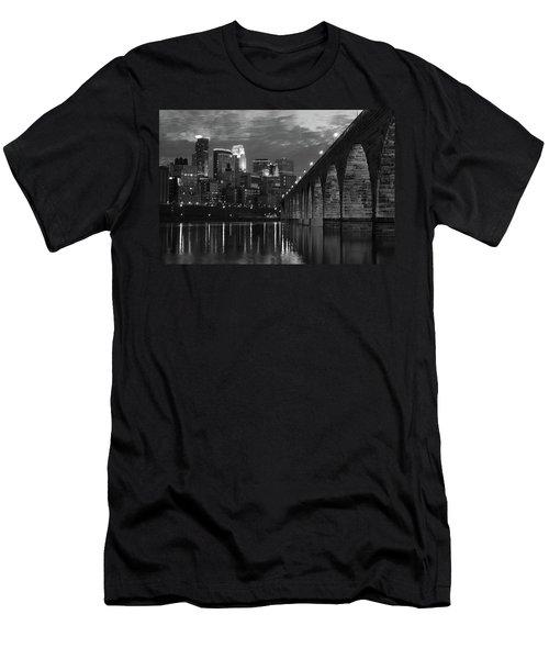 Minneapolis Stone Arch Bridge Bw Men's T-Shirt (Athletic Fit)