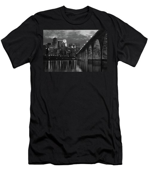 Minneapolis Stone Arch Bridge Bw Men's T-Shirt (Athletic Fit)