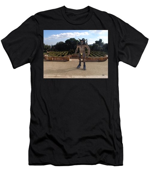 Minotaur In The Labyrinth Park Barcelona. Men's T-Shirt (Slim Fit) by Joaquin Abella