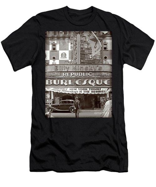 Men's T-Shirt (Slim Fit) featuring the photograph Minsky's Burlesque Theater New York by Martin Konopacki Restoration