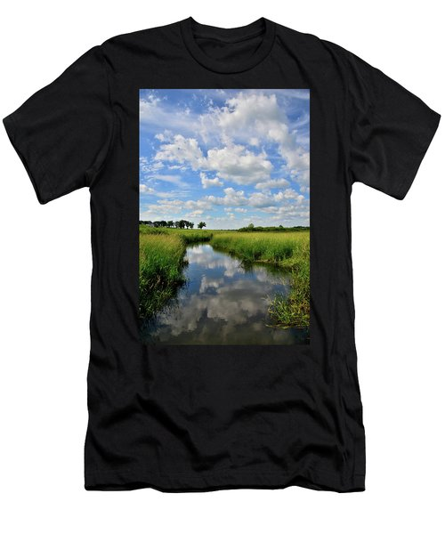 Mirror Image Of Clouds In Glacial Park Wetland Men's T-Shirt (Athletic Fit)