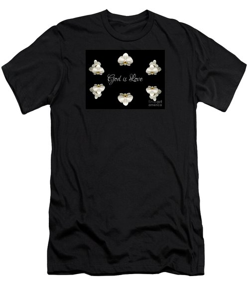 Mirrored Orchids Framing God Is Love Men's T-Shirt (Slim Fit) by Rose Santuci-Sofranko