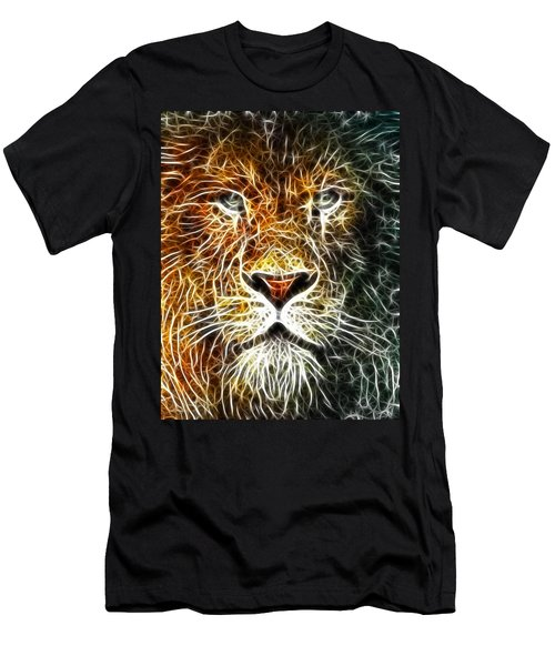 Men's T-Shirt (Slim Fit) featuring the mixed media Mistical Lion by Paul Van Scott