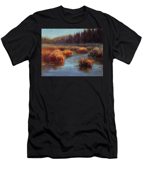 Men's T-Shirt (Slim Fit) featuring the painting Misty Autumn Meadow With Creek And Grass - Landscape Painting From Alaska by Karen Whitworth