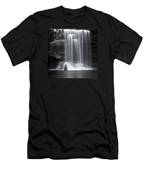Misty Canyon Waterfall Men's T-Shirt (Slim Fit) by John Stephens