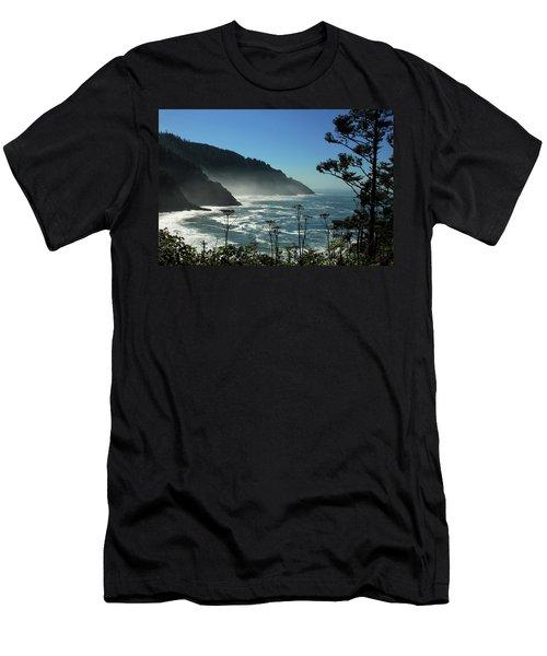 Misty Coast At Heceta Head Men's T-Shirt (Slim Fit) by James Eddy