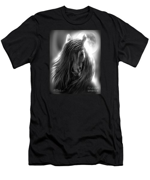 Men's T-Shirt (Slim Fit) featuring the painting Misty Moonlight by Patricia L Davidson