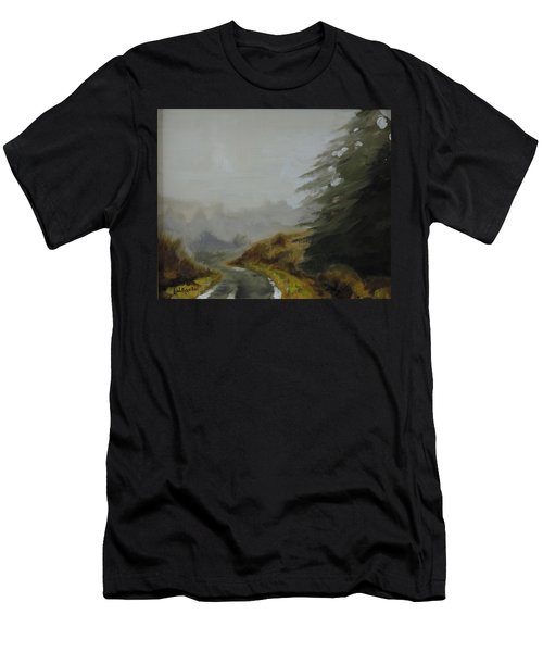 Men's T-Shirt (Slim Fit) featuring the painting Misty Morning, Benevenagh by Barry Williamson