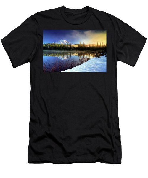 Men's T-Shirt (Slim Fit) featuring the photograph Misty Morning Lake by William Lee