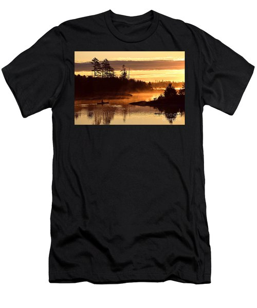 Men's T-Shirt (Slim Fit) featuring the photograph Misty Morning Paddle by Larry Ricker