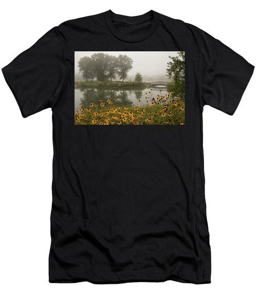 Misty Pond Bridge Reflection #3 Men's T-Shirt (Athletic Fit)