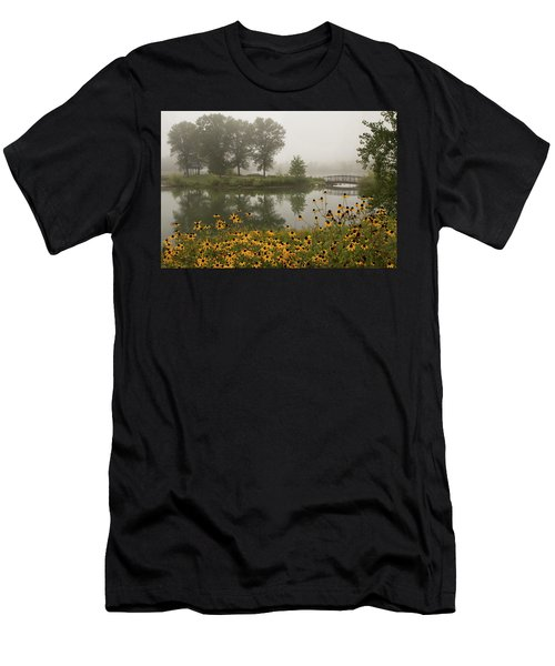 Misty Pond Bridge Reflection #3 Men's T-Shirt (Athletic Fit)