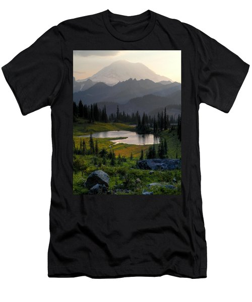 Misty Rainier At Sunset Men's T-Shirt (Slim Fit) by Peter Mooyman