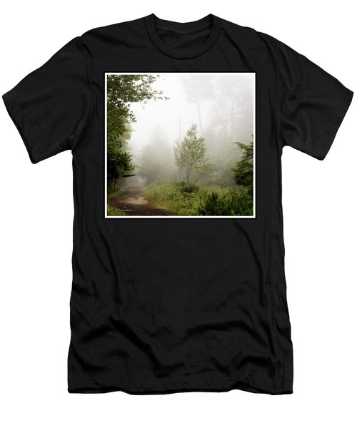 Misty Road At Forest Edge, Pocono Mountains, Pennsylvania Men's T-Shirt (Athletic Fit)