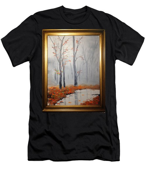 Misty Stream In Autumn Men's T-Shirt (Athletic Fit)