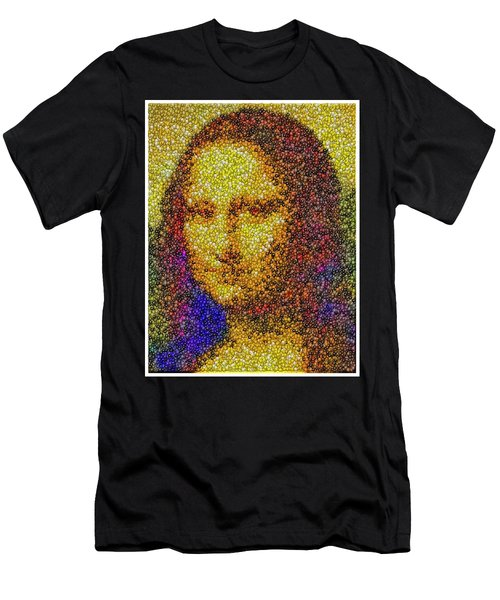Men's T-Shirt (Slim Fit) featuring the mixed media Mm Candies Mona Lisa by Paul Van Scott