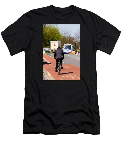 Modern Cowboy On Bike Men's T-Shirt (Athletic Fit)