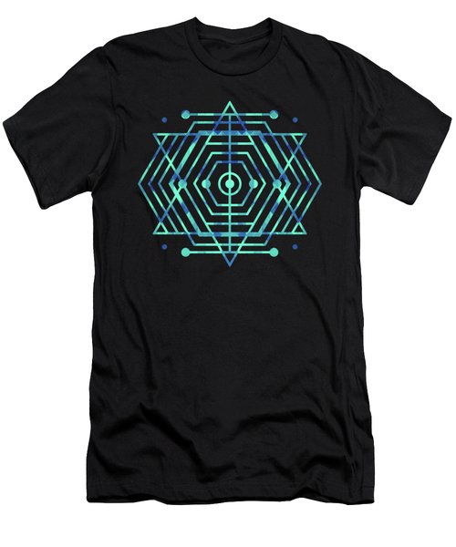 Modern Fashion Abstract Color Pattern In Blue   Green Men's T-Shirt (Athletic Fit)