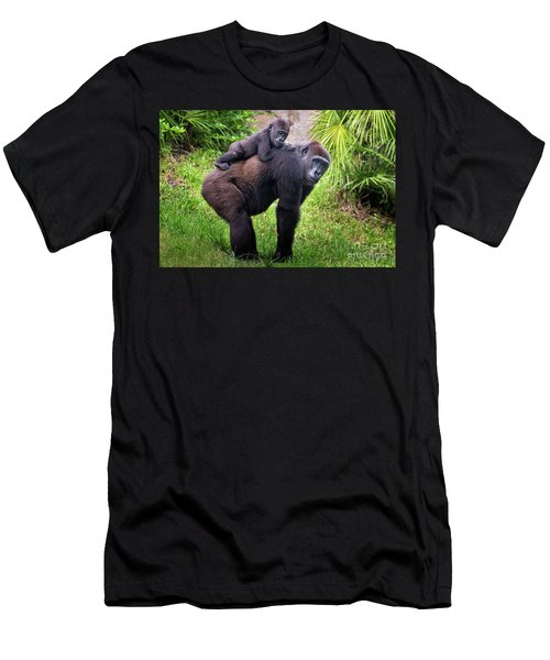 Mom And Baby Gorilla Men's T-Shirt (Slim Fit) by Stephanie Hayes