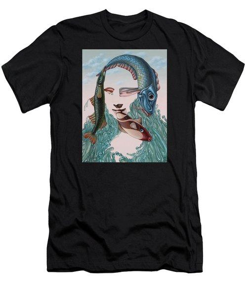 Mona Lisa. Water Men's T-Shirt (Athletic Fit)