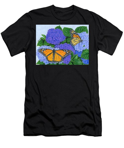 Monarch Butterflies And Hydrangeas Men's T-Shirt (Athletic Fit)