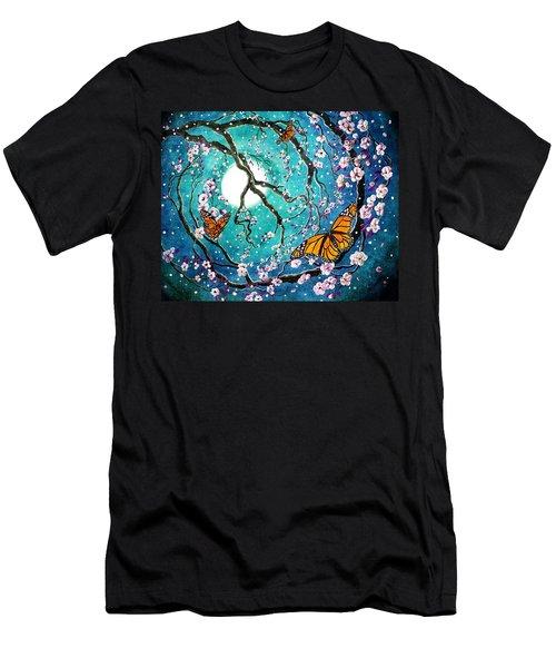 Monarch Butterflies In Teal Moonlight Men's T-Shirt (Athletic Fit)