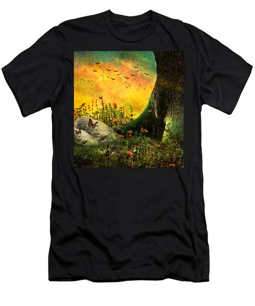 Monarch Meadow Men's T-Shirt (Slim Fit) by Ally  White