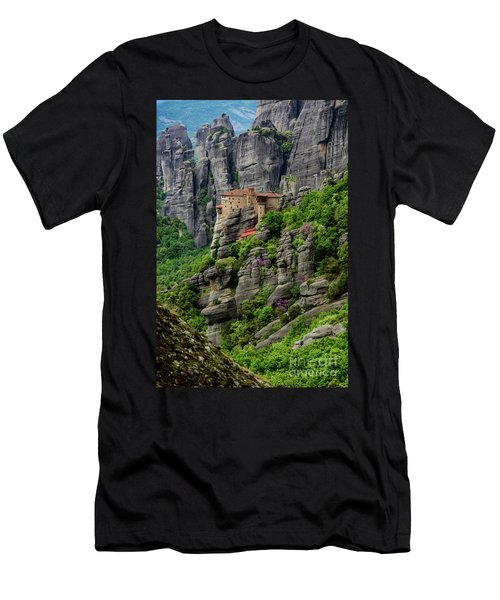 Monastery Of Saint Nicholas Of Anapafsas, Meteora, Greece Men's T-Shirt (Athletic Fit)