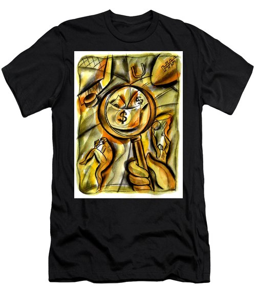 Men's T-Shirt (Slim Fit) featuring the painting Money And Professional Sports   by Leon Zernitsky