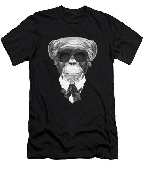 Monkey In Black Men's T-Shirt (Slim Fit) by Marco Sousa