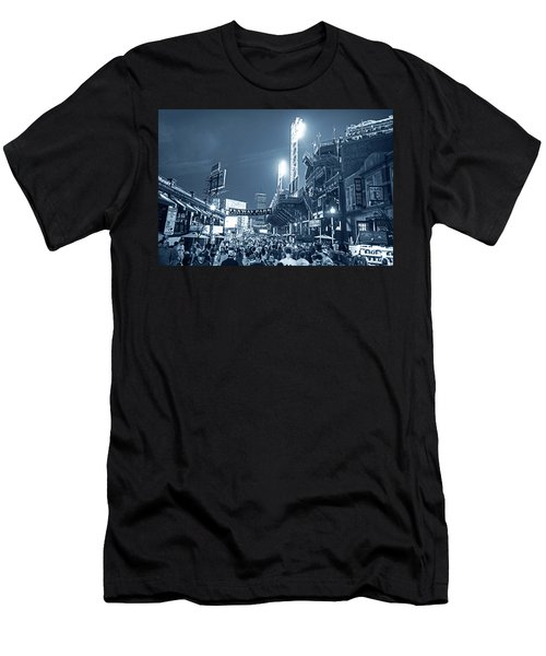 Monochrome Blue Nights Boston Ma Lansdowne St Fenway Park Game Night Men's T-Shirt (Athletic Fit)