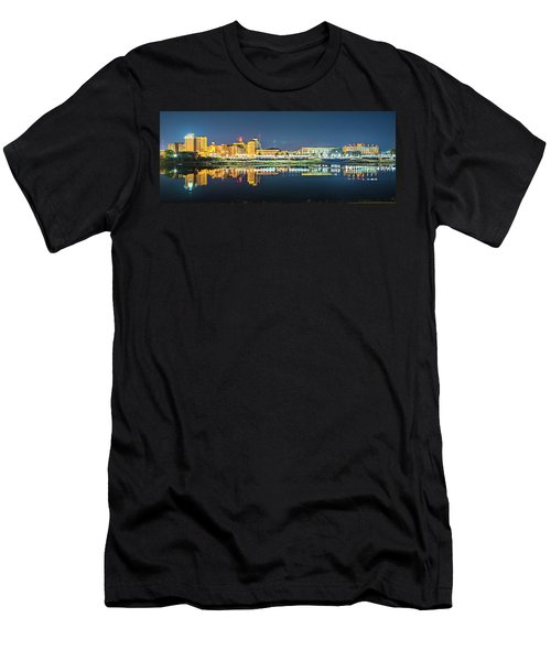 Monroe Louisiana City Skyline At Night Men's T-Shirt (Athletic Fit)