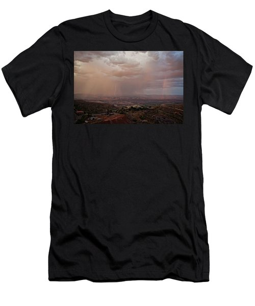 Men's T-Shirt (Slim Fit) featuring the photograph Monsoon Lightning And Rainbow by Ron Chilston
