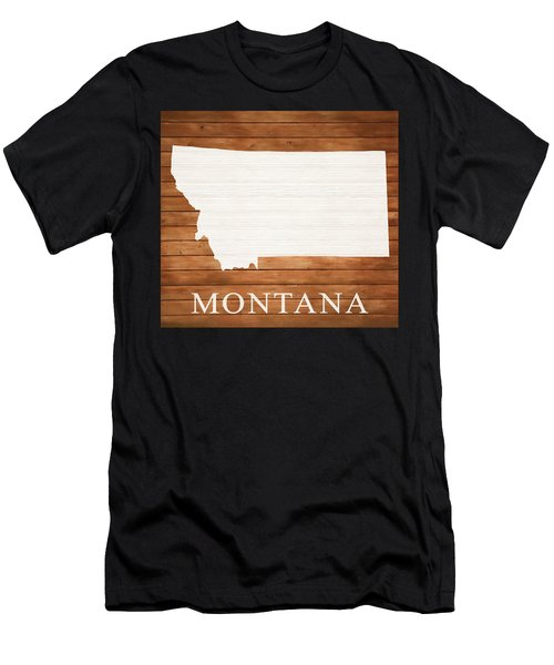 Montana Rustic Map On Wood Men's T-Shirt (Athletic Fit)